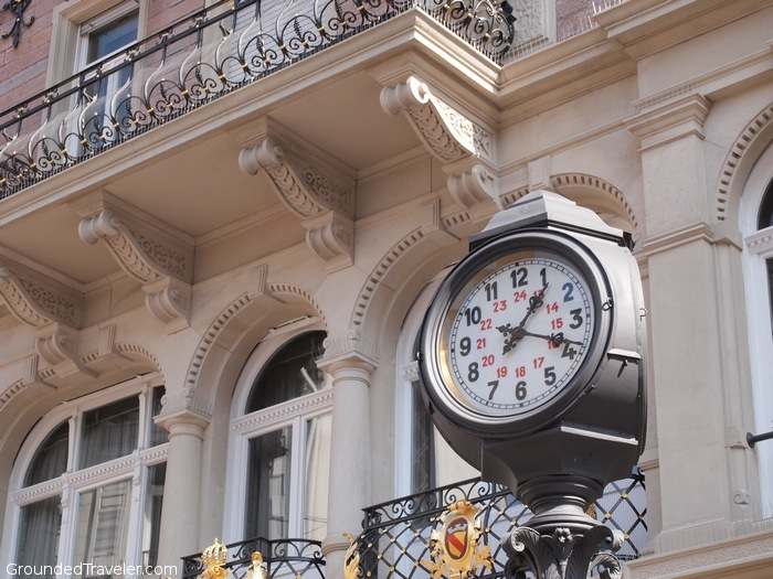 Clock on a stand in German town